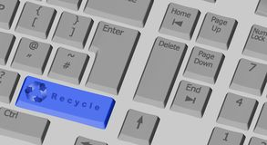 Recycle symbol on the computer keyboard in blue Stock Image