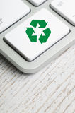 Recycle symbol on a Computer keyboard Royalty Free Stock Photos