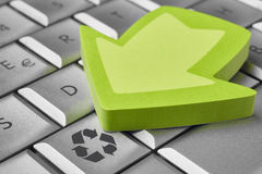 Recycle symbol on a computer keyboard. Sustainable planet. Ecolo Royalty Free Stock Photography