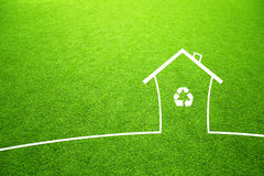 Recycle symbol on concept eco green house Royalty Free Stock Photography