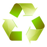 Recycle symbol of conservation green icon isolated. On white background. 3D. Vector Illustration Stock Photos