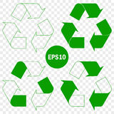 Recycle symbol of conservation green icon set. Vector Illustration Royalty Free Stock Photos
