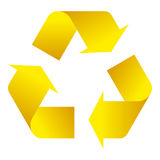 Recycle symbol of conservation yellow icon. Isolated on white background. 3D. Vector Illustration Royalty Free Stock Photos