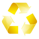 Recycle symbol of conservation yellow icon. On white background. 3D. Vector Illustration Royalty Free Stock Photo