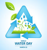 Recycle symbol design with Offshore Wind and leaf for World Water Stock Images