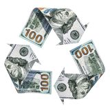 Recycle symbol from dollars, 3D rendering. Isolated on white background vector illustration