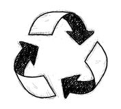 Recycle Symbol Doodle. A hand drawn vector doodle illustration of a recycle symbol Stock Image