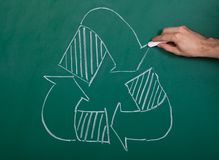 Recycle Symbol. Drawn With White Chalk On A Chalkboard Royalty Free Stock Images