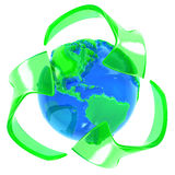 Recycle symbol with earth Stock Photos