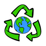 Recycle Symbol with Earth. Hand-drawn recycle symbol with blue and green earth inside Stock Image