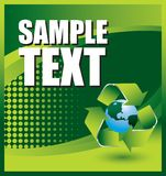 Recycle symbol on earth on green halftone banner Stock Photo