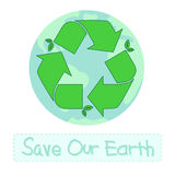 Recycle symbol with earth Royalty Free Stock Photo