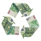 Recycle symbol from euro, 3D rendering. Isolated on white background royalty free illustration