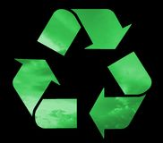 Recycle symbol filled green clouds Stock Image
