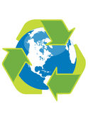 Recycle symbol and globe. Recycle symbol surrounding the globe Royalty Free Stock Images