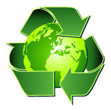 Recycle symbol with globe over white Royalty Free Stock Images