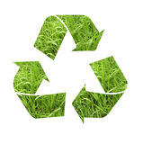Recycle symbol with grass Royalty Free Stock Photos