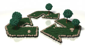 Recycle Symbol in the Grass. Recycle symbol built out of grass tress and rocks vector illustration