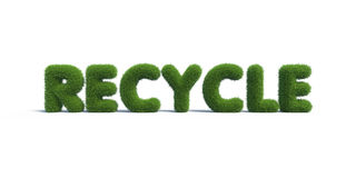 Recycle symbol grass on background. 3d rendering royalty free illustration