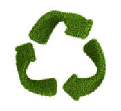 Recycle symbol from grass. isolated on white Stock Photos