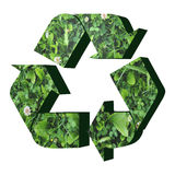 Recycle symbol with grass texture. 3D render of recycle icon royalty free illustration