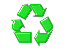 Recycle Symbol in Green. Green beveled recycle symbol with drop shadow stock illustration