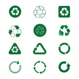 Recycle Symbol Green Arrows Logo Set Web Icon Collection. Vector Illustration stock illustration