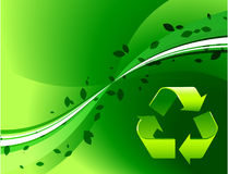 Recycle Symbol on Green Background Stock Photos