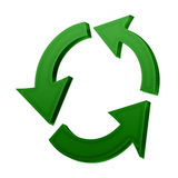 Recycle symbol. Green recycle symbol in 3D royalty free illustration