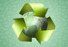 Recycle symbol with green earth Stock Images