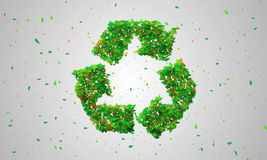 Recycle Symbol Green leaves particles 3D. Digital art Royalty Free Stock Photo