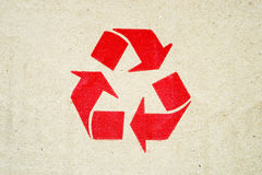 Recycle symbol on grunge brown   paper Royalty Free Stock Photography