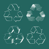 Recycle Symbol Hand Drawing Vector. Set of four white isolated hand drawing vector recycle symbols on green board Royalty Free Stock Images