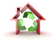 Recycle symbol in house Royalty Free Stock Photography