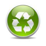 Recycle symbol icon. Glossy recycle symbol icon royalty free illustration