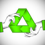 Recycle symbol illustration. Two hands holding a recycle symbol can be used as an illustration of eco help or as part of other creative design. Editable vector Stock Image