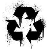 Recycle symbol ink splatter Royalty Free Stock Photography