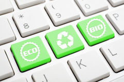 Recycle symbol key. Bio, eco and recycle symbol key on keyboard Stock Photography