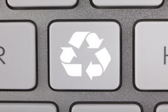 Recycle Symbol on a Key Royalty Free Stock Photos
