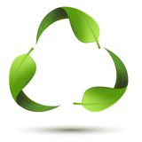 Recycle symbol with leaf. Illustration of recycle symbol with leaf on isolated background Stock Photo