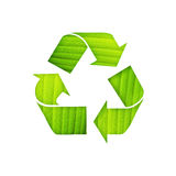 Recycle symbol with leaf detail Royalty Free Stock Image