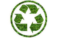 Recycle symbol with leaf texture Royalty Free Stock Photo