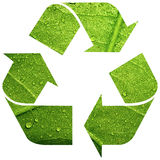 Recycle symbol with leaf Royalty Free Stock Image