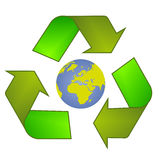 Recycle Symbol - logo. Triangle of the arrows mark the secondary processing of raw materials Royalty Free Stock Image