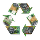 Recycle symbol made with australian dollars Stock Photos