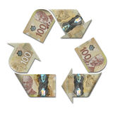 Recycle symbol made with canadian dollars Stock Image