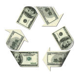 Recycle symbol made with dollars Stock Photos