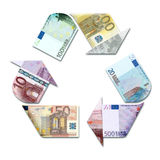 Recycle symbol made with euro Royalty Free Stock Images
