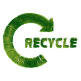Recycle symbol made of grass. Recycling Signs made of green grass isolated on white background — one in a series of recycling symbols done in the same style Stock Photography