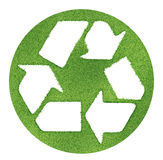 Recycle symbol made on grass outlines Stock Images